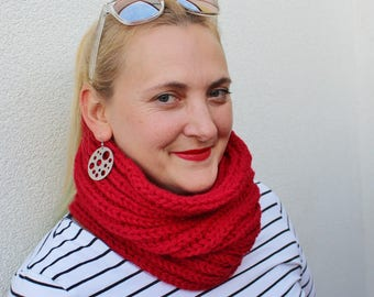 Red Scarf - Red Snood - Knitted Red Scarf - Womens Scarf - Dark Red Scarf - Ready to ship