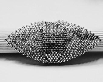 Peyotering silver beadwork ring, glass Pearl Jewelry, beadwork, ring wedding, Hochzeitzschmuck, embryo, Christmas gift