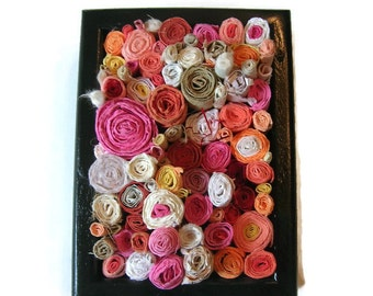 Paper sculpture - circles of handmade paper in warm tones in a black shadowbox frame - first anniversary gift - rolled paper art sculpture