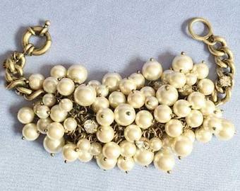 Dramatic Pearls & Antiqued Gold 'Cha Cha' Bracelet