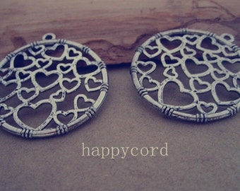 10pcs  Antique silver Love  Round Charms 32mm