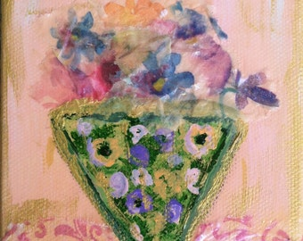 Collectible Small Art Original Mixed Media Collage Art/Mini Painting - Vintage Vase with Flowers