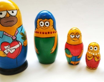 The Simpsons-Homer-Maggie-Bartholomew-Lisa-Margaret -Wooden Toys-Nesting Dolls-Funny Gift-Set of 5 nesting dolls-Height about 4.13 in-