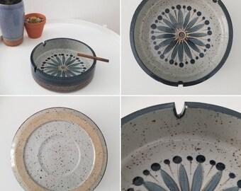 Vintage - 1950's - Blue Flower Ceramic Ashtray