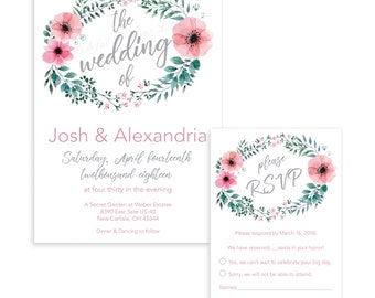 Spring Wedding Invitation & RSVP Digital Available