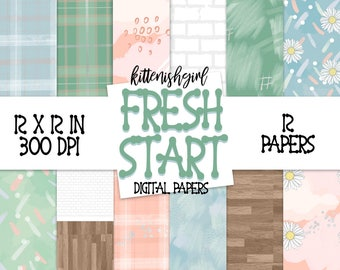 Fresh Start DIGITAL PAPER Modern Abstract Daisies Brick Wood 90s 80s