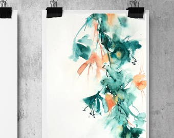 Abstract Original Watercolor Painting, Floral Painting, Emerald Green Florals, watercolour art, Abstract Botanical Painting