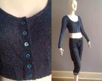 Vintage Dorothee Bis Metallic Lurex Cropped Sweater ~ Made in France Button Up Cardigan