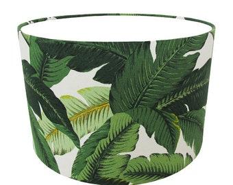 Custom Drum Indoor Outdoor Lamp Shade  Tropical Lamp Shades  Green Lampshade   Hopping Emerald