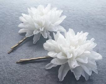 Silk Flower Hair Pins Wedding Hair Piece Bridal Hair Pin White Head Pin Floral Head piece