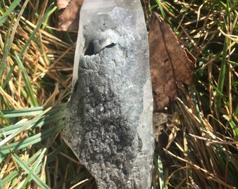 """Large Curved Elestial Blue Tara """"Star"""" Quartz with Riebeckite and Olenite Tourmaline Inclusions/Sprays - Protection Guidance Communication"""