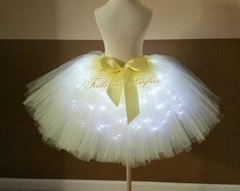 Yellow LED Tulle Skirt/Light Up Tutu Skirt/Lighted Tutu Skirt/Cosplay Costume/Festival Clothing/Tutu Skirt/Bridal Skirt/Halloween/Costume