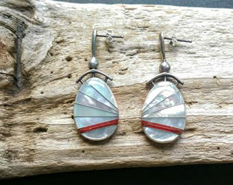 American Indian Jewelry,Coral Earrings, Native American Indian Jewelry, Zuni Jewelry,