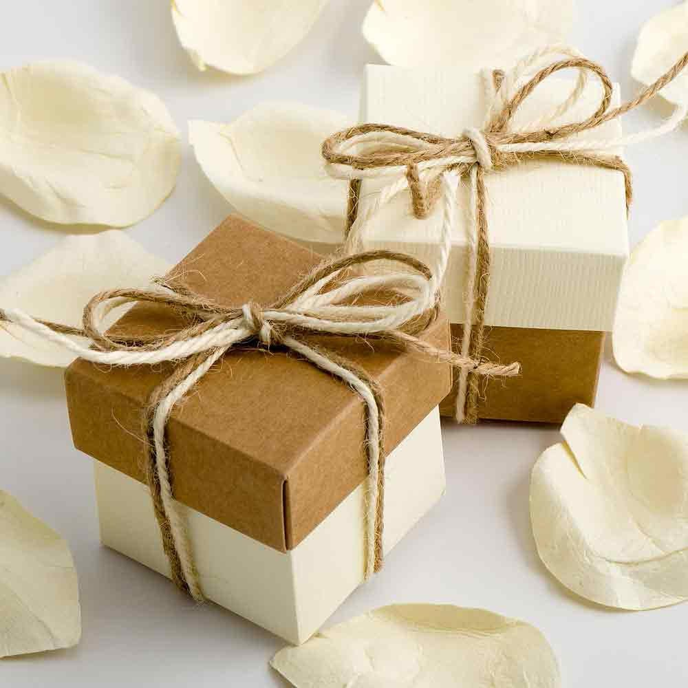 50x Kraft and Ivory Wedding Favour Boxes DIY Two Tone
