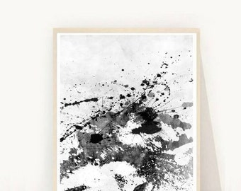 Ink Art, Abstract Art Print, Monochrome Print, Printable Art, Wall Decor, Wall Art, Minimalist Art,  Instant Download