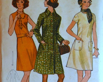 Uncut 1970s Butterick Vintage Sewing Pattern 5909, Size 16; Misses' Dress and Coat