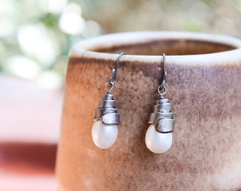 Iron Jewelry: Forged Iron and White Freshwater Pearl Earrings