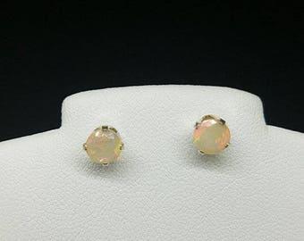 fire opal earrings, fire opal studs, fire opal jewelry, round fire opal earrings, round fire opal studs, 5mm sterling  .925 silver