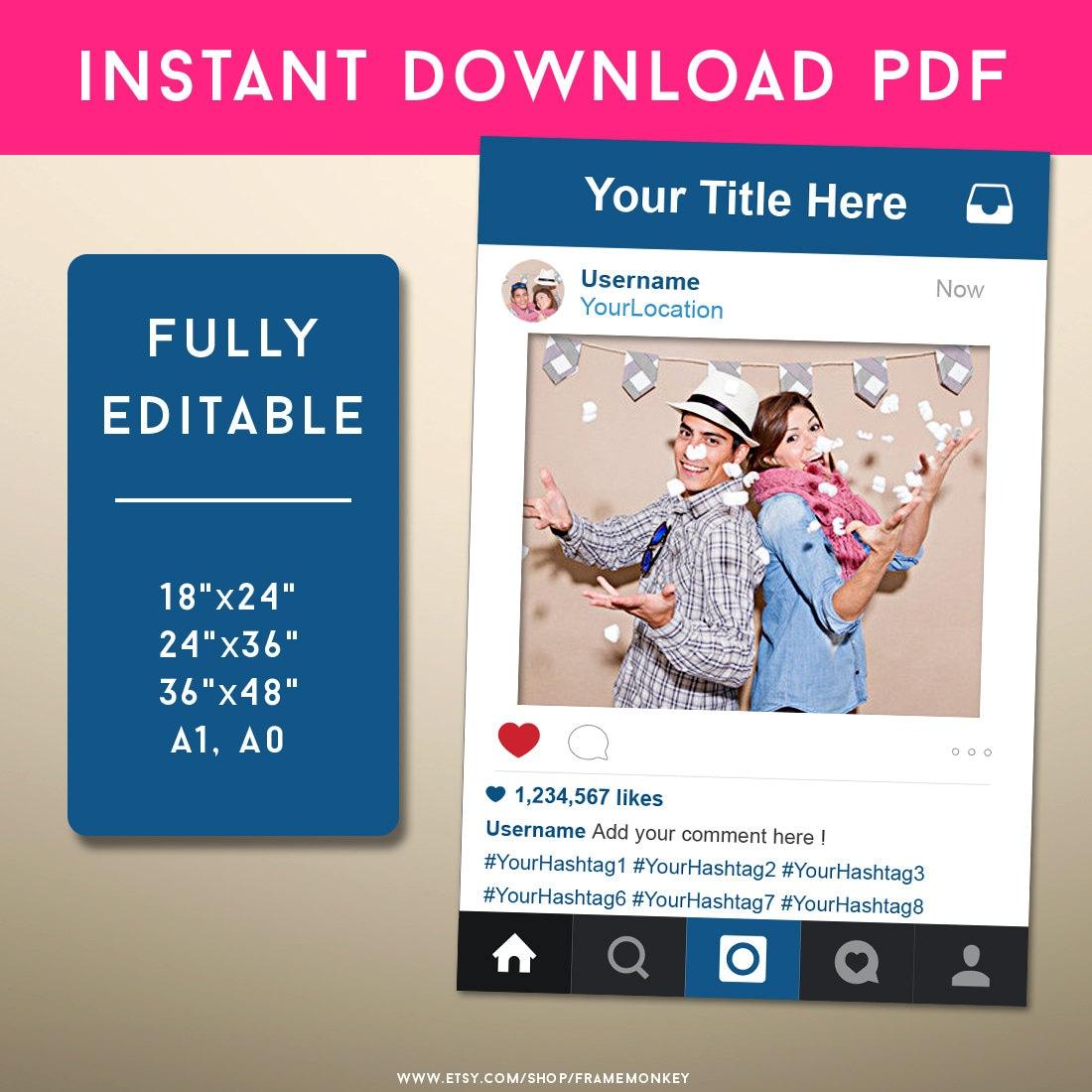 PDF estilo Instagram marco foto Prop signo de Instagram redes