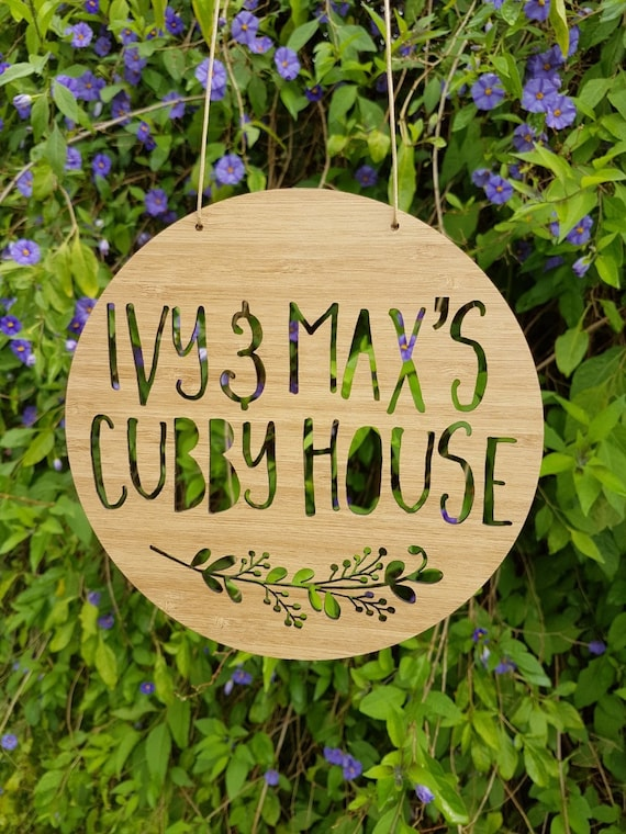 Personalised Wooden Cubby House Sign Floral Design