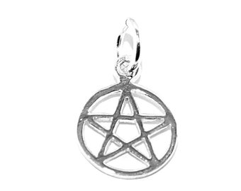 Tiny Pentacle Charm Pentagram Pendant Sterling Silver pagan wicca (1cm wide)
