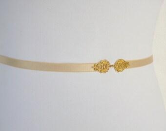 Champagne Elastic Waist Belt. Gold filigree vintage style waist belt. Bridal/ Bridesmaid Belt.