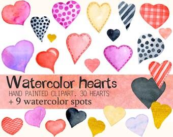 Watercolor Valentine's Clipart   Love Clip Art - Romantic watercolor  Hearts, watercolor spots, backgrounds - Digital Clipart, PNG Files