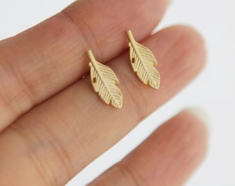 Light as a Feather matte silver or gold finish earring