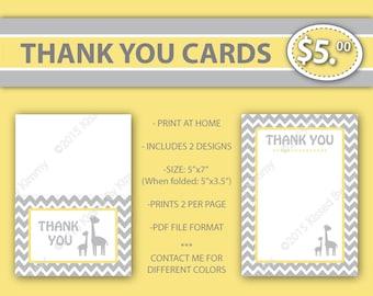 80% off SALE Giraffe THANK YOU Cards - Giraffe Baby Shower -Gray & Yellow Printable Baby Shower Decorations- Pastel Yellow Light Gray - 22-6