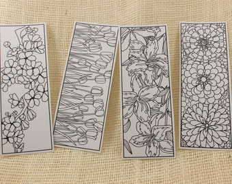 DIGITAL DOWNLOAD, Flower Coloring Bookmarks, DIY Birthday Favors, Art Party Favors, Baby Shower Favor, Coloring Pages, Gift Mom Gift