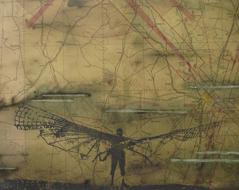 Hang Glider - Otto Lilienthal - Silk Screen - First Anniversary - Flying Man - Flying Squirrel - Patina Rust and Coffee Stain