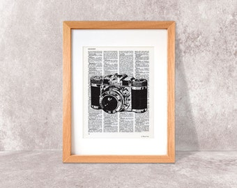 Retro camera print-old camera print-camera dictionary print-old camera on book page-Gift for him-photographer gift-by NATURA PICTA-DP016