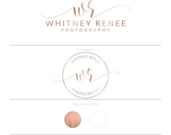Rose Gold Logo Photography Logo Watermark Branding Package Lash Logo Makeup Logo Realtor Logo Real Estate Logo Microblading Logo Doula Logo