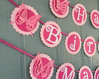 Butterfly Birthday Banner - Personalized with Name - Shades of Pink & White - 3 pc Banner