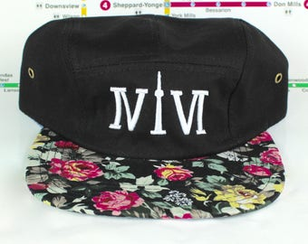 Forever Floral Five Panels! Toronto Beautiful 416 Five Panel hats. Original, Custom, One of a Kind, CN Tower, The Six, 6ix, Roman Numerals