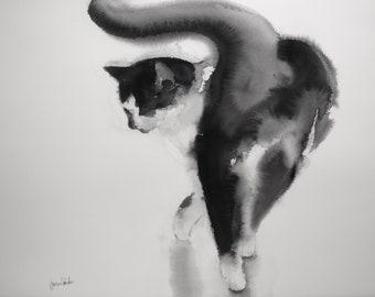 Walking tuxedo cat - original watercolor painting, gift for cat lowers