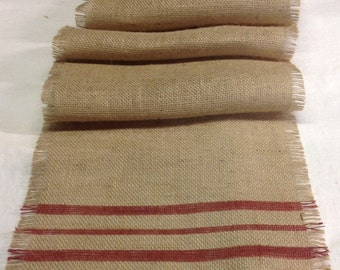 Old Farmhouse Burlap Table Runner Striped Rustic Red 10-14 x 72 to 96/Burlap Table Runner/Choice of Colors