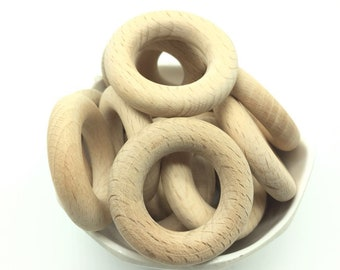 40mm DIY Natural beech Wood Baby Teether Ring Teething Ring round beech Wood rings Toddler Kids Teether Toy Chew Toys