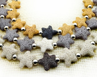 20% OFF, Star Lava Necklace, Yellow Lava Necklace, Lava Beaded Necklace, Beadwork Necklace, Handmade Necklace