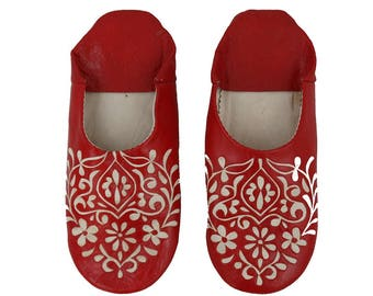 Babouche Leather Slippers Red floral pattern