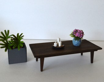 """1:6 scale table_mid-century_modern dollhouse furniture_wooden playscale coffee table for 10"""" to 12"""" dolls_multiple finishes available."""