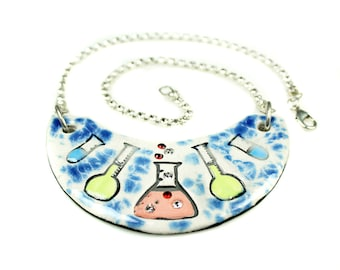 Chemistry Flask Sparkle Surly Ceramic Necklace With Rhinestone Chain