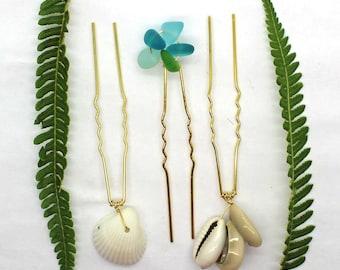 Shell Bobby Pins, Beach Glass, Sea Shell, Hair Pins, Hair Accessories, Hair Jewelry, Bobby Pins, Beach Wedding, Wedding Hair
