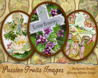 Vintage Easter Victorian Religious Greeting Card Images 30mmx40mm ovals  Digital Collage Sheet