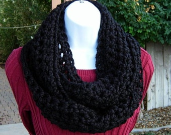 Solid Black Cowl SCARF infinity Loop Bulky Soft Wool Blend, Thick Warm Crochet Knit Winter Circle, Neck Warmer, Ready to Ship in 2 Days