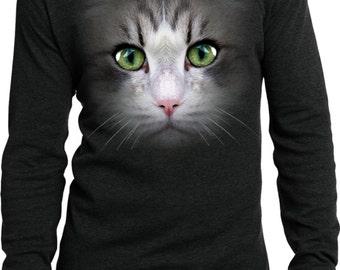 Men's Funny Shirt Big Cat Face Long Sleeve Thermal Tee T-Shirt 18218D1-DT118