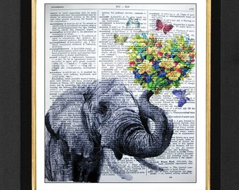 """Elephant Print, Elephant Wall Art, Elephant Painting,  Elephant With Flowers, """"First Date"""", Elephant Pictures, 8x10 Dictionary Art"""