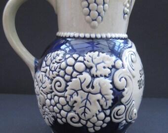 Vintage German Wine Pitcher / jug, Ceramic, Cobalt blue