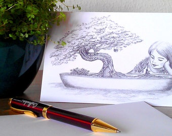 Greeting Card - Fantasy Illustration - Bonsai Tree