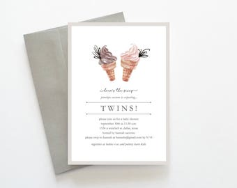 Twins Baby Shower Invitation, Baby Shower Invitation Twins, Twins Baby Shower Invitation Boy Girl, Boy Girl Twins Baby Shower Invitation